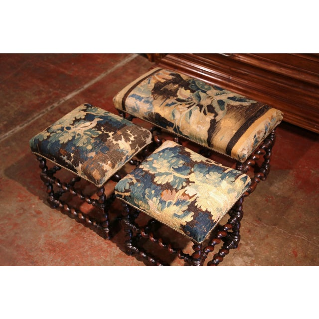 Mid 19th Century 19th Century French Carved Walnut Stools and Bench With Aubusson Tapestry - Set of 3 For Sale - Image 5 of 9