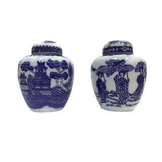 Mid Century Cobalt Blue & White Mini Ginger Jars - a Pair For Sale