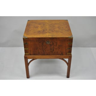 Vintage Mid-Century Burl Wood & Brass English Campaign Style Chest & Table Stand - 2 Pieces Preview