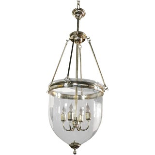 Large Glass and Chrome Bell Jar Lantern For Sale