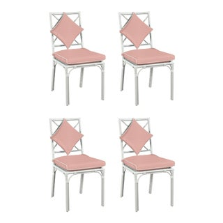 Haven Outdoor Dining Chair, Canvas Blush with Canvas White Welt, Set of Four For Sale