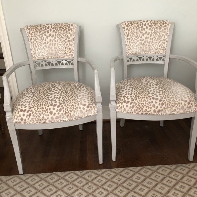 """Beautifully refinished chairs with soft gray paint and luxurious Cowtan & Tout fabric Sturdy, solid and gorgeous 23"""" W x..."""
