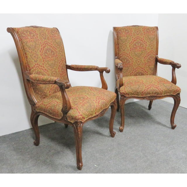 Brown Louis XV Carved Walnut Chairs by EJ Victor - a Pair For Sale - Image 8 of 8
