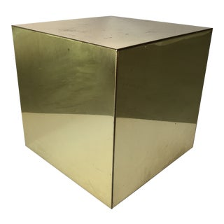 Curtis Jere Brass Cube Side Table or Pedestal For Sale