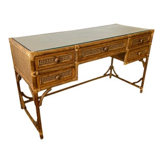 1970's Bamboo and Cane Desk For Sale