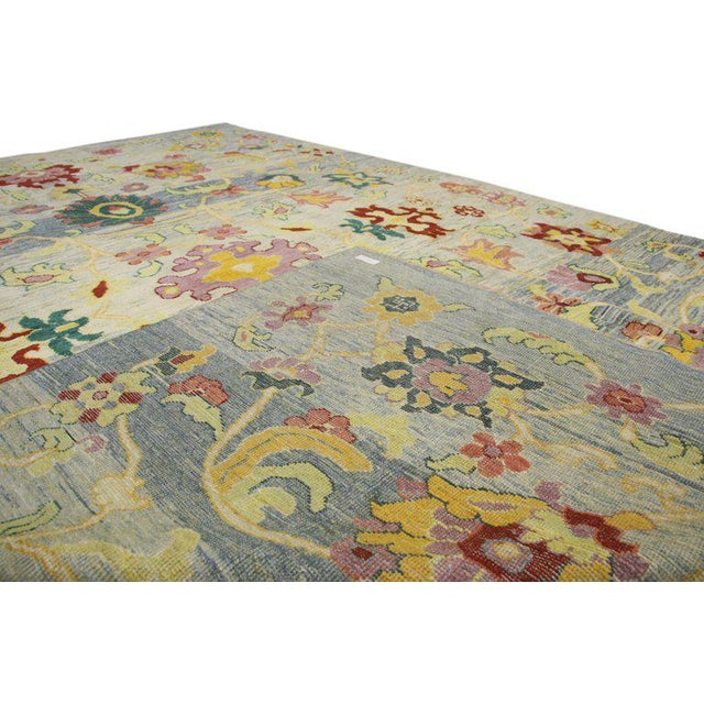 """Turkish Oushak Modern Style Area Rug - 9'7"""" X 13'3"""" For Sale - Image 4 of 5"""