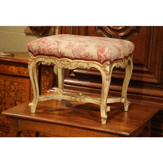 19th Century French Louis XV Carved Painted and Gilt Stool with Toile De Jouy For Sale - Image 10 of 10