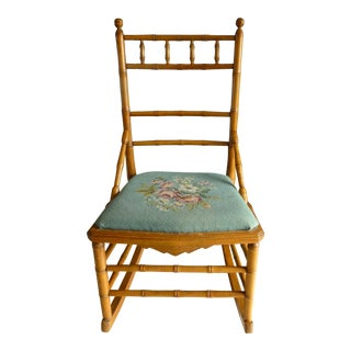 20th Century Traditional Child's Needlepoint Rocking Chair For Sale