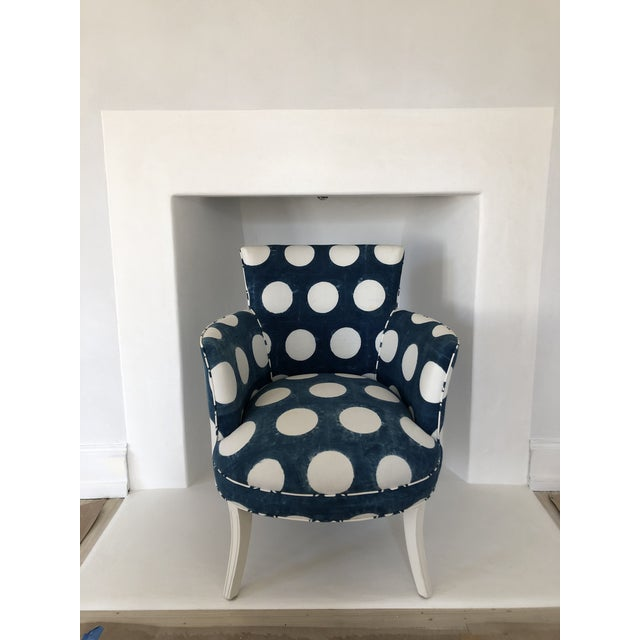 Les Indiennes Blue Reverse Dot Occasional Chair For Sale In Philadelphia - Image 6 of 6