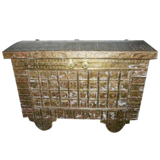 Antique Indian Hand Carved Brass Cl;added Hope Chest on Wheels For Sale