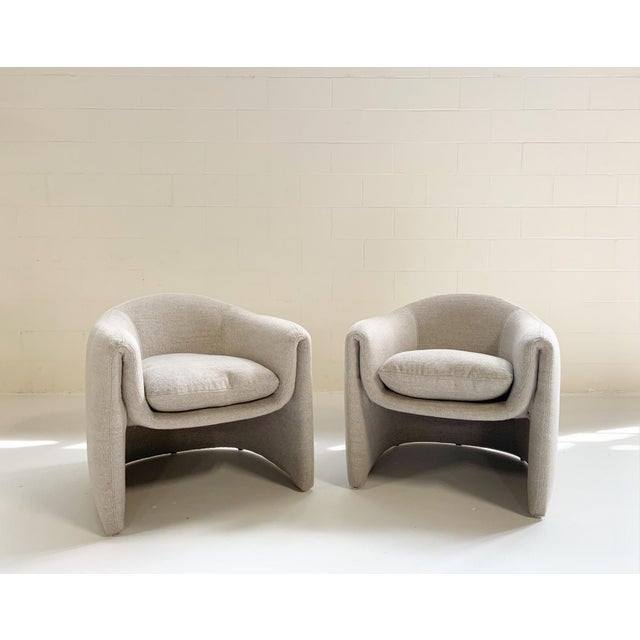 Textile Preview Modernist Lounge Chairs Restored in Loro Piana Alpaca Wool Fabric - Pair For Sale - Image 7 of 8