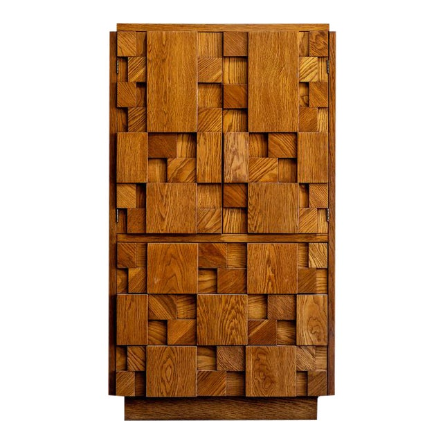 1970s Brutalist Lane Armoire For Sale