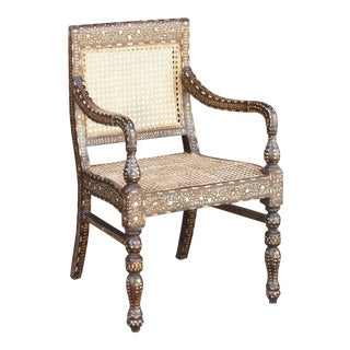 Dark Brown Anglo Indian Bone Inlay Arm Chair For Sale