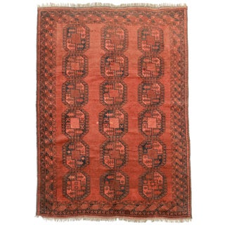 "RugsinDallas Vintage Hand Knotted Wool Turkmen Rug - 6'3"" X 8'8"" For Sale"