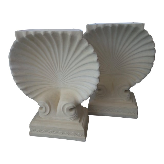 1980s Hollywood Regency Cast Plaster Shell Table Bases - a Pair For Sale