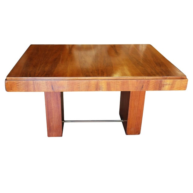 Cubist inspired walnut desk in the fashion of designers like Charles Dudouyt with cheery stained hardwood veneer, two-tier...