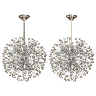 Mid-Century Sputnik Snowflake Chandeliers in Nickel - a Pair For Sale