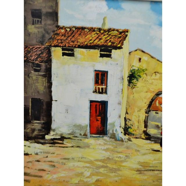 Impressionism Framed European Village Scene Oil Painting For Sale - Image 3 of 11