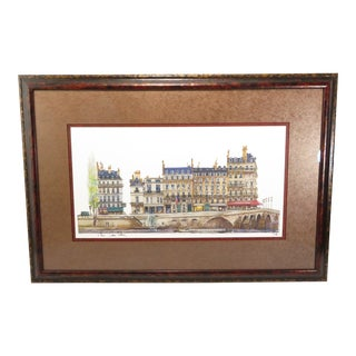 Zamir Mati Signed Watercolor & Ink Architectural Painting of the Hotel Du Quai Voltaire, Paris For Sale