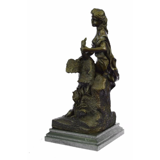 Nude Woman and Swan Statue on Marble Base Sculpture - Image 4 of 9