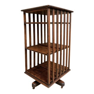 Antique English Tiger Oak Revolving Rolling Bookcase For Sale