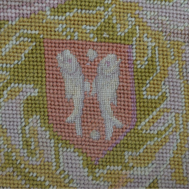 Green Lathe 19th Century Wool Needlepoint Panel With Lady and Cheetah For Sale - Image 8 of 13