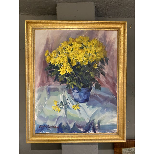 1980s Daisies Still Life Painting For Sale - Image 5 of 5