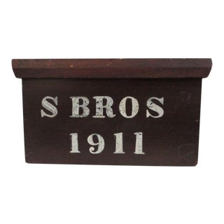 Signed and Dated 1911 Document Box in Original Paint from PA For Sale