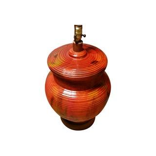 MCM Oversized Lava Glaze Ceramic Lamp & Shade