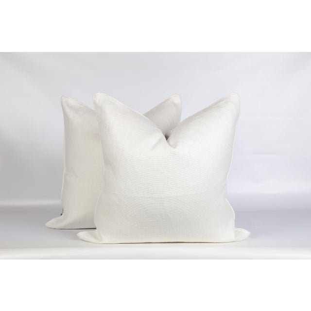 Ivory Gray Aztec Embroidered Pillows, a Pair For Sale - Image 4 of 6