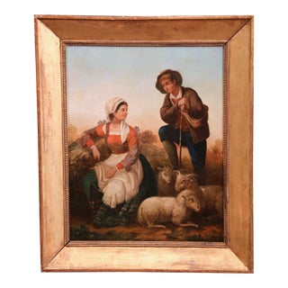 Large 19th Century French Shepherds and Sheep Oil Painting in Gilt Frame