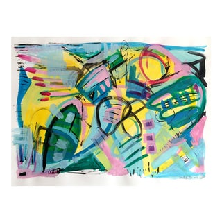 """Six Fingers"" Original Abstract Painting on Paper For Sale"
