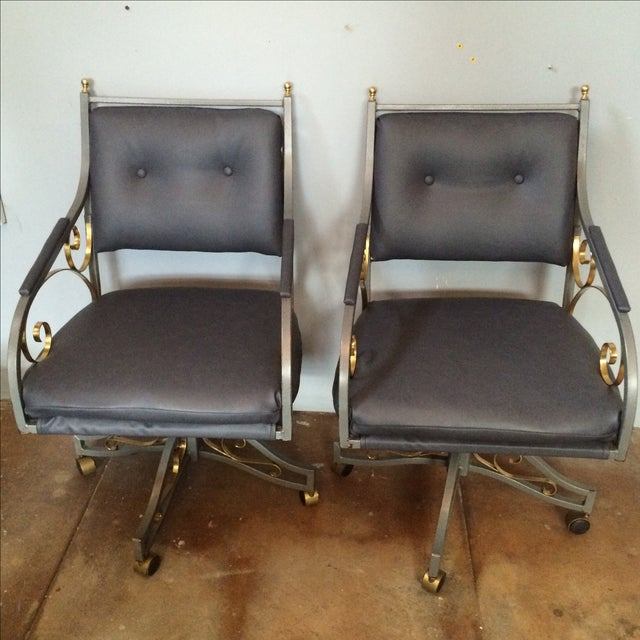 Hollywood Regency Office Chairs - A Pair - Image 2 of 9