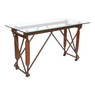 Italian Modern Mahogany and Glass Console, Silvio Cavatorta For Sale