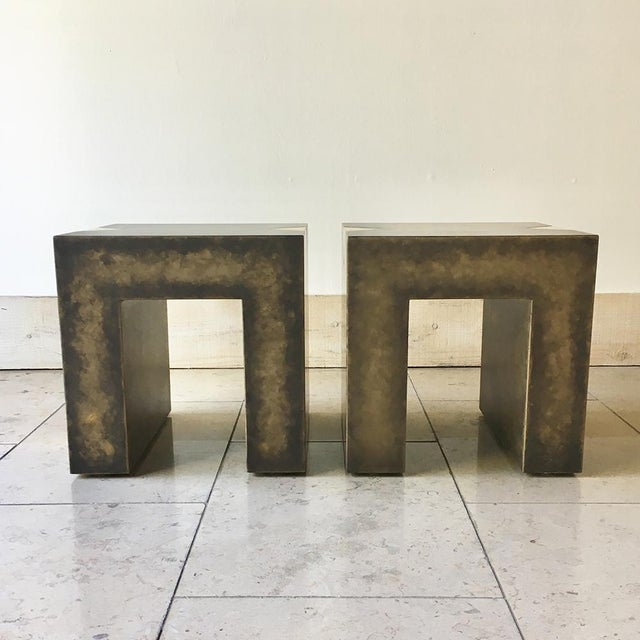 A Pair of Square Bronze Collection Side Tables with Brass Detailing by Talisman Bespoke The Bronze Collection is glamorous...