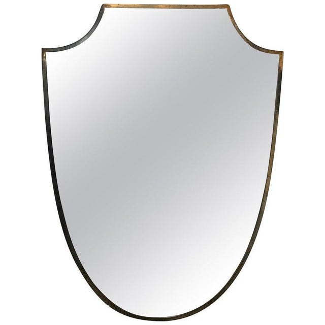 Brass Frame Italian Shield Mirror, 1950s For Sale - Image 9 of 9