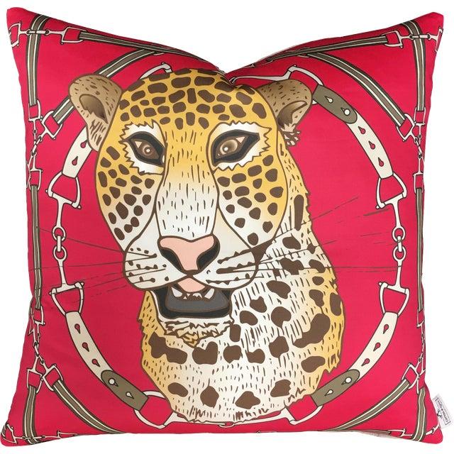 "Cheetah Plaid in Raspberry 22"" Pillow For Sale"