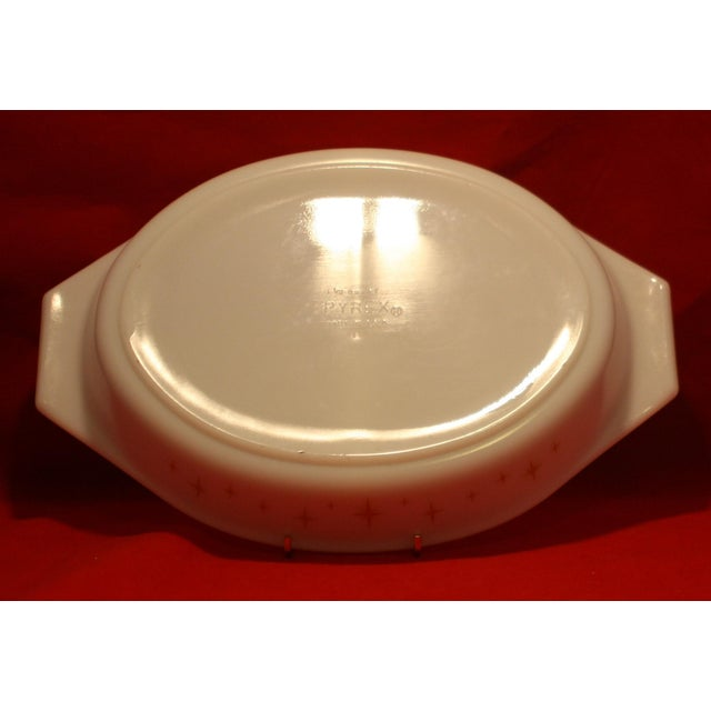 Yellow Mid-Century Pyrex Starburst Lidded Divided Casserole With Stand For Sale - Image 8 of 10