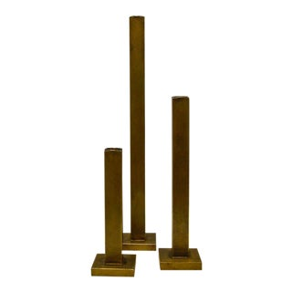 Martha Sturdy Bronze Candle Holders- Set of 3 For Sale