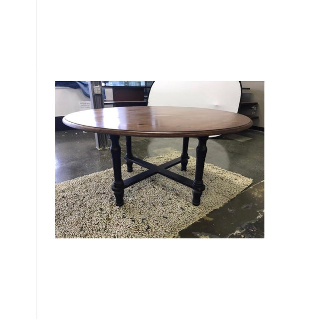Primitive Hickory White Woven Leather and Bamboo Dining Chairs With Round Wood Table Set For Sale - Image 3 of 13