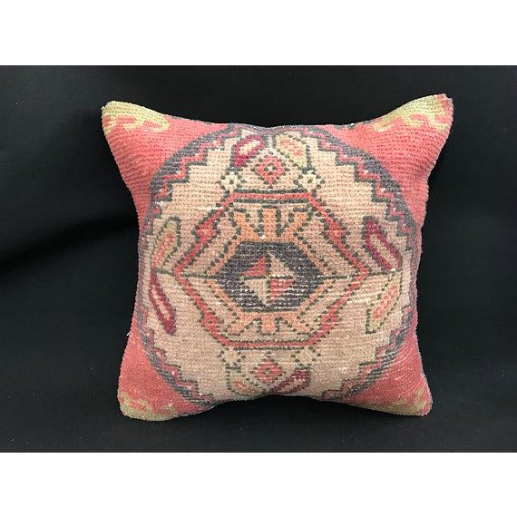1960's Turkish Tribal Handwoven Oushak Pillow For Sale - Image 11 of 11