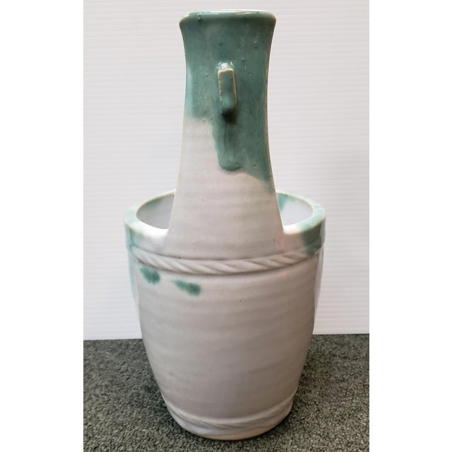 Mid-Century Modern Mid 20th Century Japanese Glazed Stoneware Water Bucket Form Vase For Sale - Image 3 of 7
