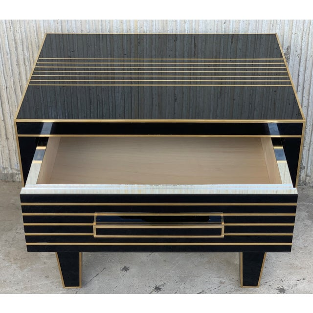 New Pair of Mirrored Low Nightstand in Black Mirror and Chrome With Drawer For Sale - Image 9 of 10