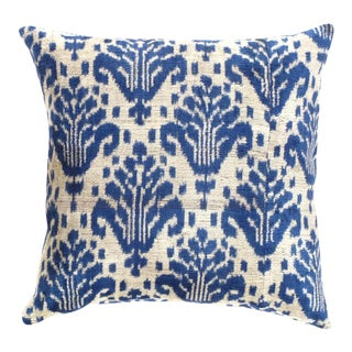 Turkish Hand Woven Silk Velvet Ikat Pillow 20'' #Ti 283 For Sale