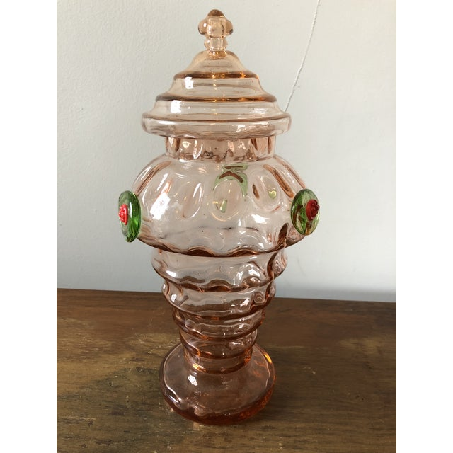Mid century Italian art glass lidded candy jar. Three red and green flower designs. Excellent condition.