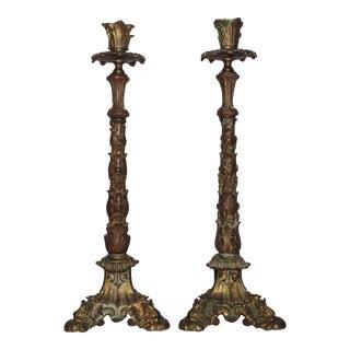 19th Century Gilt Bronze Victorian Candlesticks - a Pair For Sale