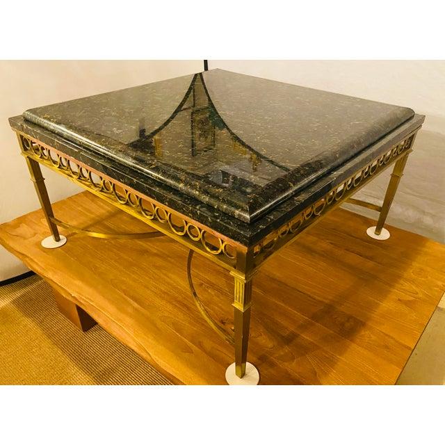 Hollywood Regency Granite Top on Brass Base Center Table For Sale - Image 12 of 13