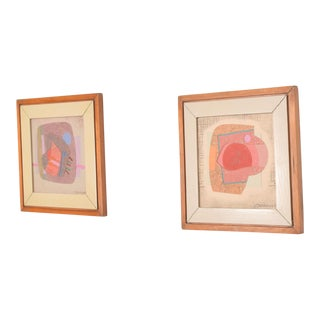 Abstract Mixed Media Pair Small Art Works by Jose Luis Serrano, Mexico 80's For Sale