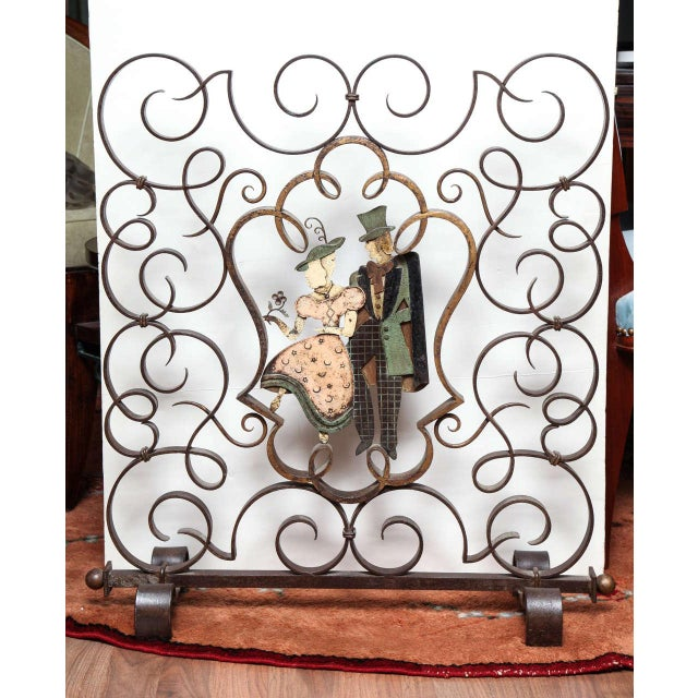 Unusual French Art Deco Figural Fire Screen For Sale - Image 10 of 10