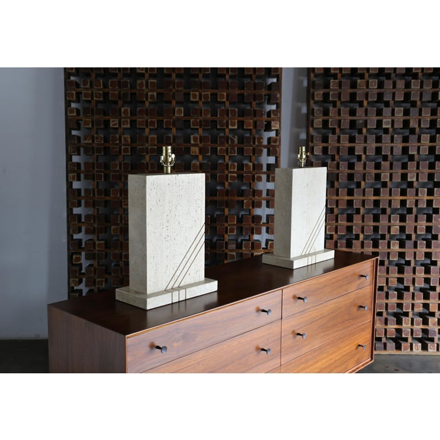Modernist Travertine Lamps Circa 1980 - a Pair For Sale - Image 11 of 13